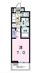 広島電鉄6系統 江波駅 徒歩7分の賃貸アパート 3階1Kの間取り
