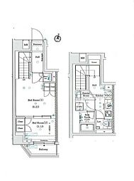 JR総武線 信濃町駅 徒歩7分の賃貸マンション 2階2Kの間取り