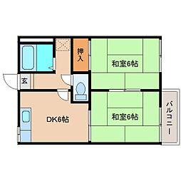 奈良県葛城市疋田の賃貸アパートの間取り