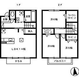 [テラスハウス] 福岡県福岡市南区野間3丁目 の賃貸【/】の間取り