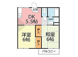 神奈川県小田原市酒匂1丁目の賃貸アパートの間取り