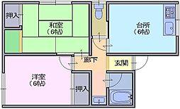 M'S田町 2階2DKの間取り