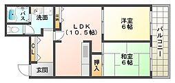 大阪府大阪市平野区瓜破東3丁目の賃貸マンションの間取り