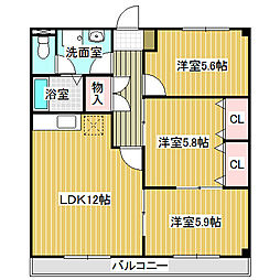 愛知県名古屋市中川区万場4丁目の賃貸アパートの間取り