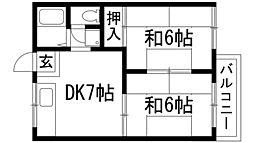 乾ハイツA棟[1階]の間取り