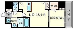 YOU'S七番館 2階1LDKの間取り