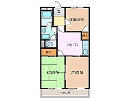 三重県四日市市小古曽東3丁目の賃貸マンションの間取り