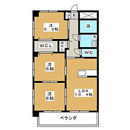 ブルースカイマンションVII[7階]の間取り