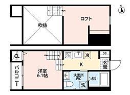 ゴールドパレス箱崎駅前 2階1SKの間取り