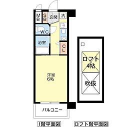 エステムコート難波ウエストサイド大阪ドーム[10階]の間取り