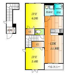 ラ・フルールII[2階]の間取り