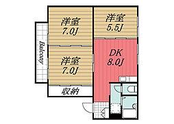 JR成田線 成田駅 バス15分 末広下車 徒歩3分の賃貸アパート 1階3DKの間取り