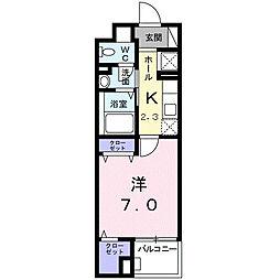 ソレイユ・イーストブリッジ 3階1Kの間取り