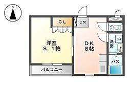 三重県三重郡川越町大字亀須新田の賃貸アパートの間取り