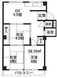 大阪府枚方市山之上2丁目の賃貸マンションの間取り