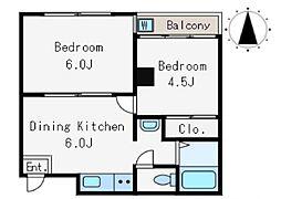 キングスコート(フルリノベーション物件)[1D号室号室]の間取り