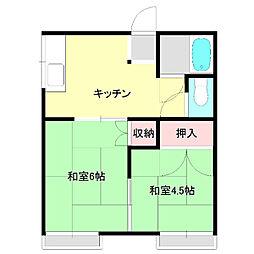 鈴木荘[1階号室]の間取り