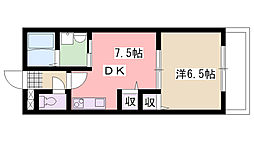 兵庫県西宮市小松町1丁目の賃貸アパートの間取り