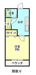 兵庫県赤穂市磯浜町の賃貸マンションの間取り
