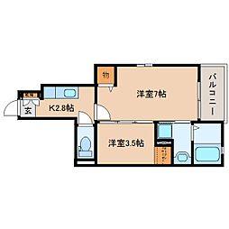 JR東海道本線 静岡駅 バス12分 登呂南下車 徒歩3分の賃貸アパート 1階2Kの間取り