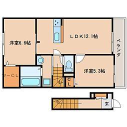 奈良県生駒郡斑鳩町神南5丁目の賃貸アパートの間取り