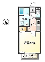 滋賀県東近江市宮荘町の賃貸アパートの間取り