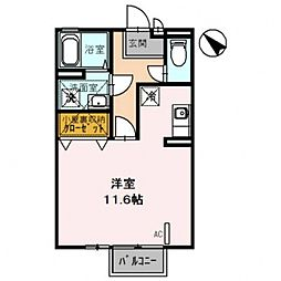 クリエーション 2階ワンルームの間取り