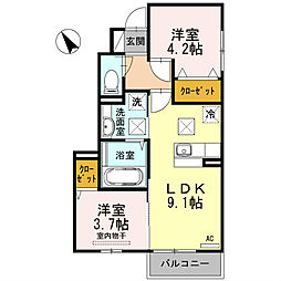 福岡県北九州市八幡西区石坂2丁目の賃貸アパートの間取り