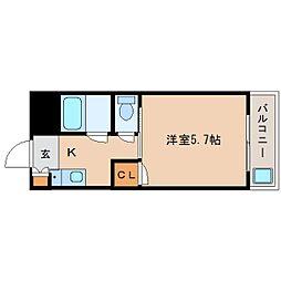 近鉄奈良線 富雄駅 徒歩4分の賃貸マンション 2階1Kの間取り