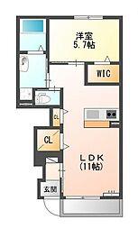 熊野新築アパート[1階]の間取り
