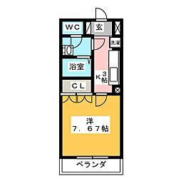 静岡県焼津市石脇上の賃貸マンションの間取り