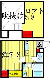 AXIS南柏[2階]の間取り