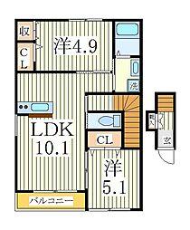 クレール松葉III[2階]の間取り