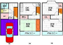 [一戸建] 大阪府吹田市岸部南1丁目 の賃貸【/】の間取り