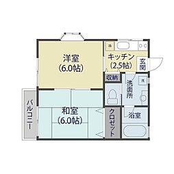 埼玉県草加市中央2丁目の賃貸アパートの間取り
