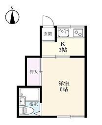 ひだまりアパート2 2階1Kの間取り