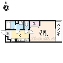 JR山陰本線 円町駅 徒歩8分の賃貸アパート 2階1Kの間取り