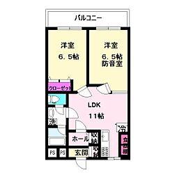 笹山ハイツ[102号室]の間取り