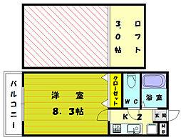 福岡県福岡市東区美和台5丁目の賃貸アパートの間取り