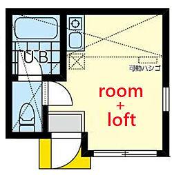 ユナイト横浜ドレスデン 2階ワンルームの間取り
