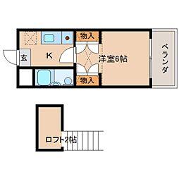 奈良県奈良市南京終町2丁目の賃貸アパートの間取り