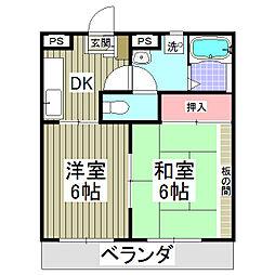 パークサイド北戸田[302号室]の間取り