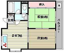 兵庫県神戸市東灘区魚崎北町7丁目の賃貸マンションの間取り