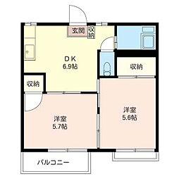 コーポ 栄 B[2階]の間取り