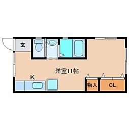 近鉄南大阪線 高田市駅 徒歩2分の賃貸アパート 2階ワンルームの間取り
