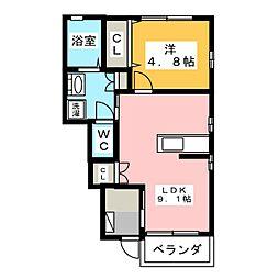 小野ハイツ1号[1階]の間取り