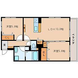 静岡県静岡市葵区桜町の賃貸マンションの間取り