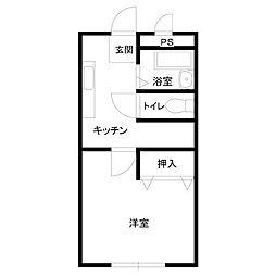 横山ビル[1K号室]の間取り