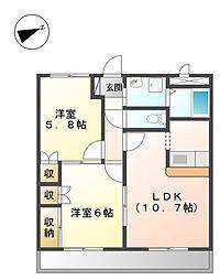 パンプルムース[2階]の間取り