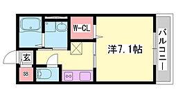 山陽電鉄本線 山陽姫路駅 徒歩5分の賃貸アパート 1階1Kの間取り